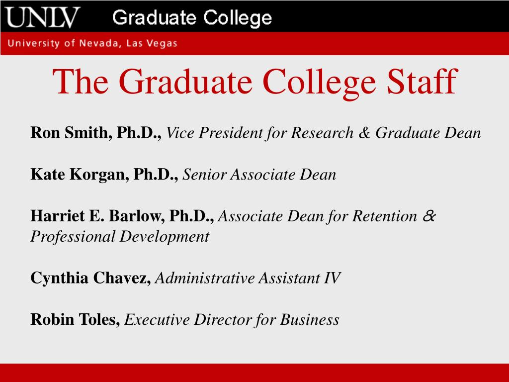 The Graduate College Staff