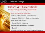 theses dissertations graduate college formatting requirements