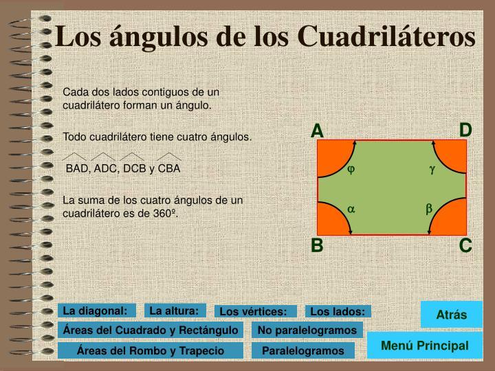 Cada dos lados contiguos de un cuadrilátero forman un ángulo.