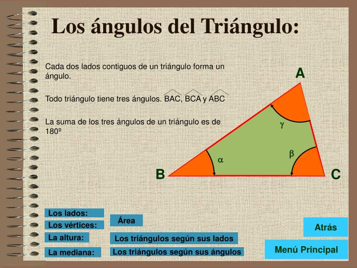 Cada dos lados contiguos de un triángulo forma un ángulo.