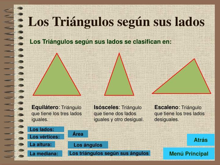 Los Triángulos según sus lados se clasifican en: