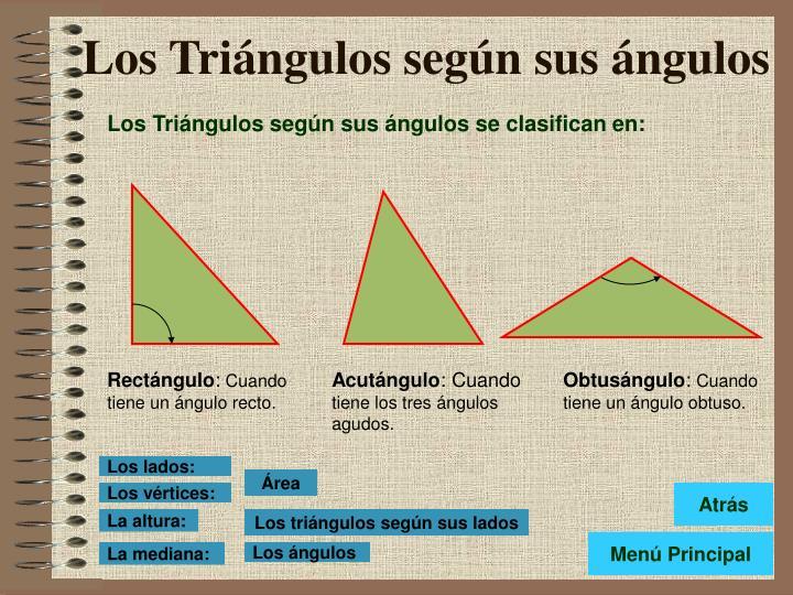 Los Triángulos según sus ángulos se clasifican en: