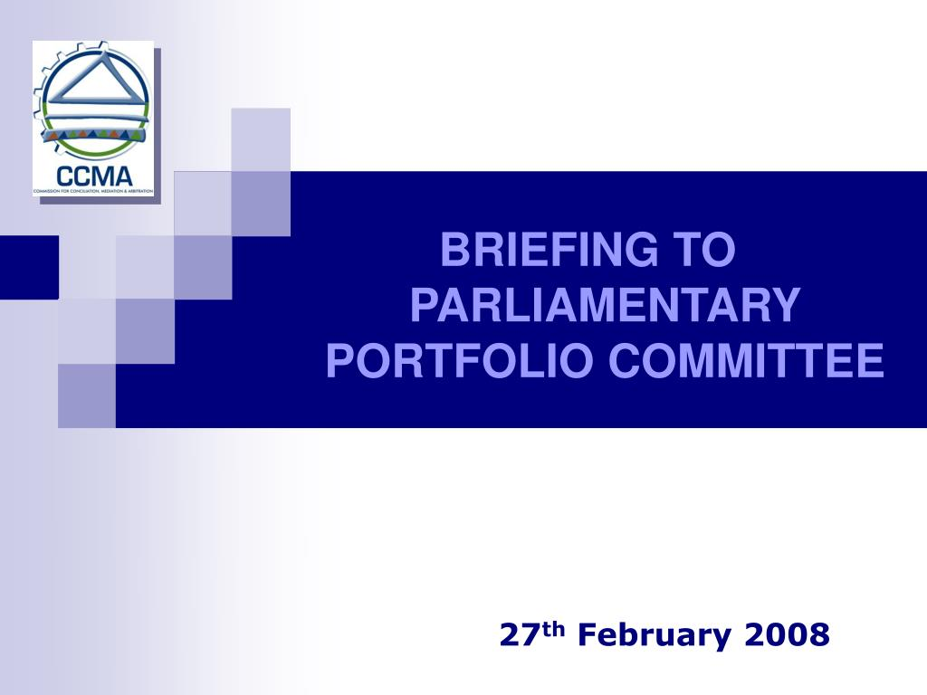 BRIEFING TO PARLIAMENTARY PORTFOLIO COMMITTEE