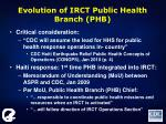 evolution of irct public health branch phb