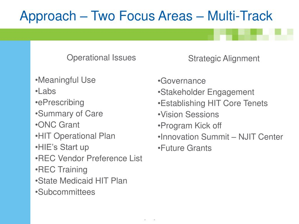 Approach – Two Focus Areas – Multi-Track
