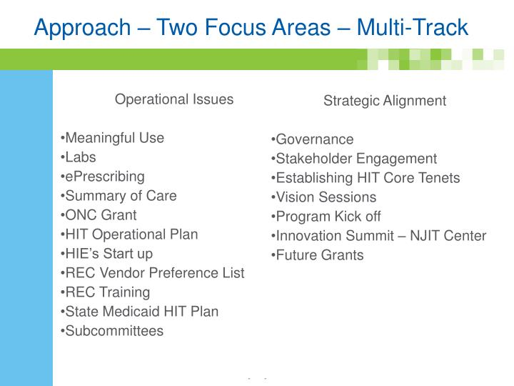 Approach two focus areas multi track