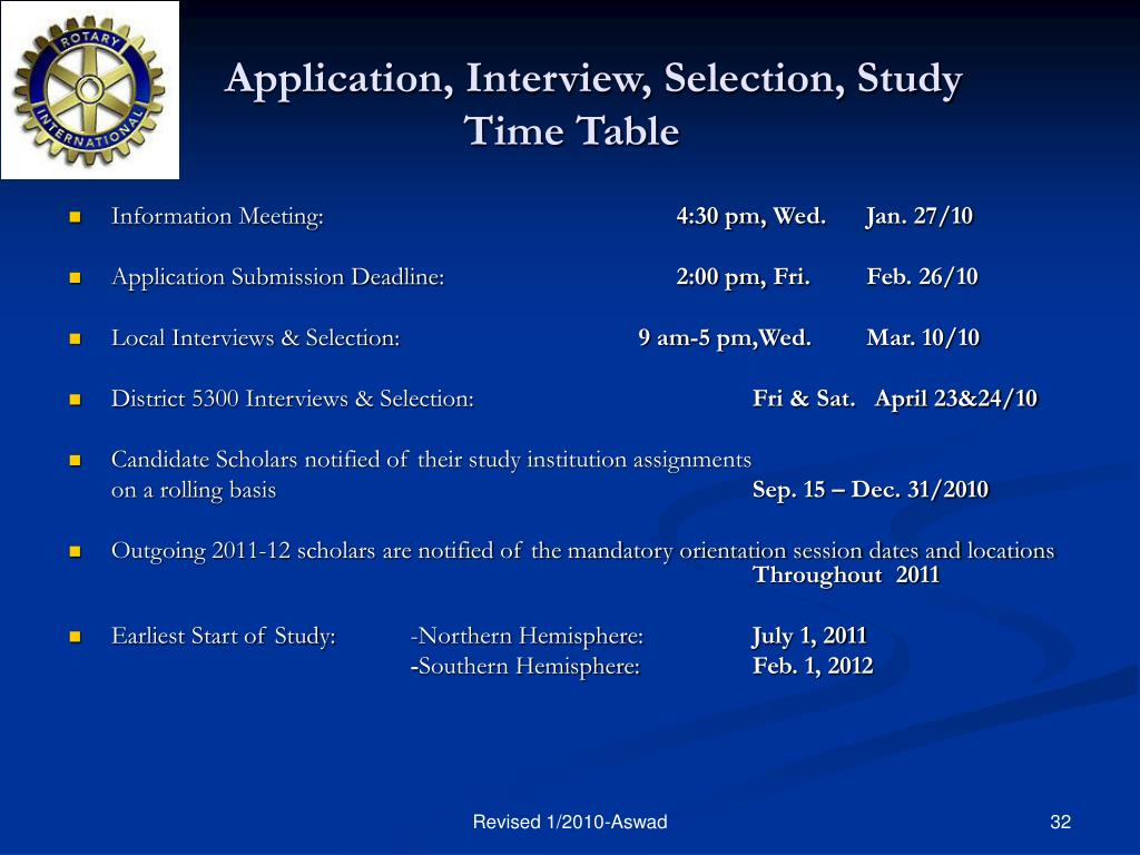 Application, Interview, Selection, Study