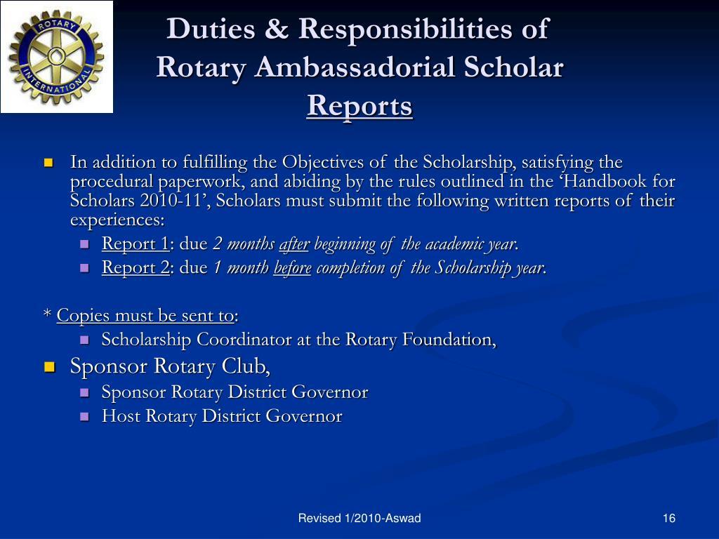 Duties & Responsibilities of