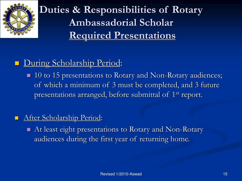 Duties & Responsibilities of Rotary Ambassadorial Scholar