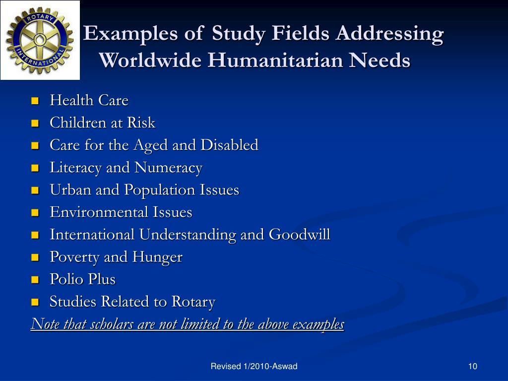 Examples of Study Fields Addressing Worldwide Humanitarian Needs