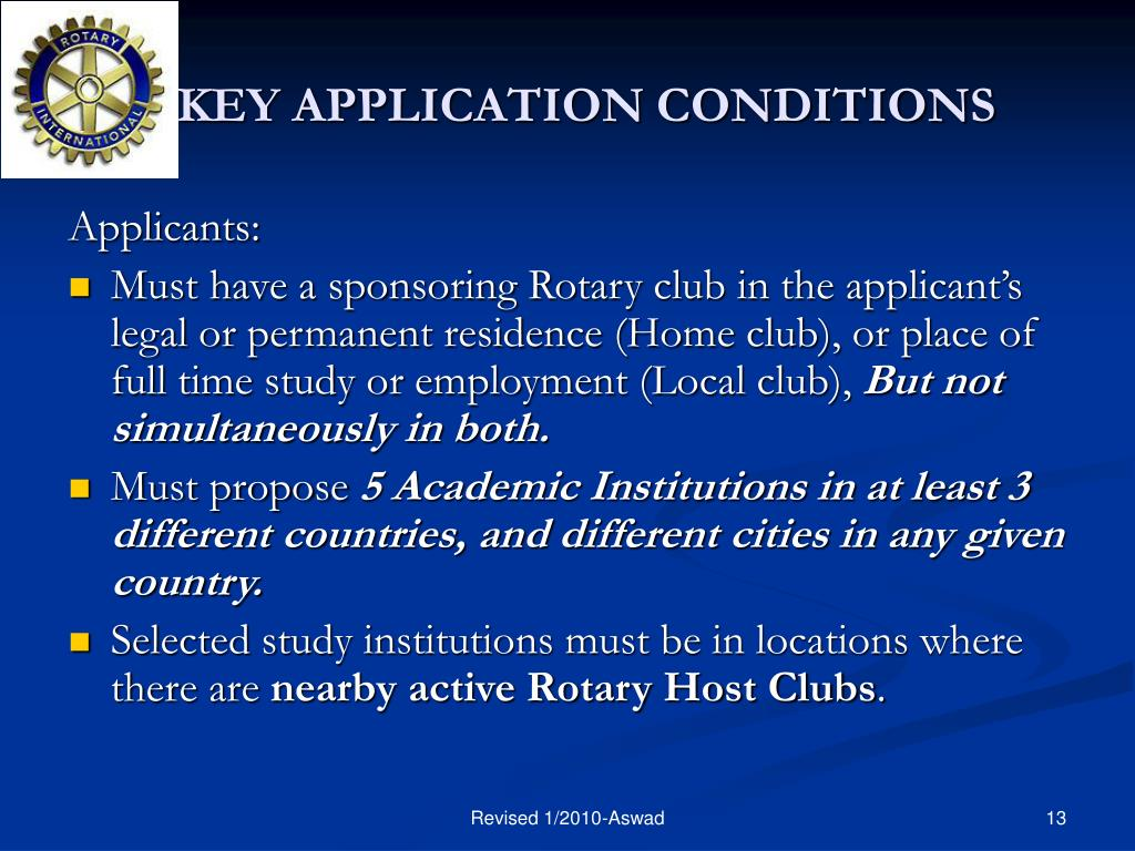 KEY APPLICATION CONDITIONS