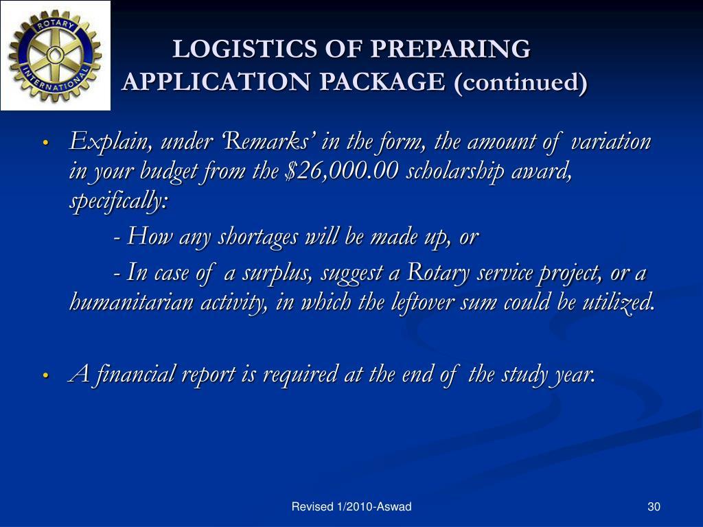 LOGISTICS OF PREPARING