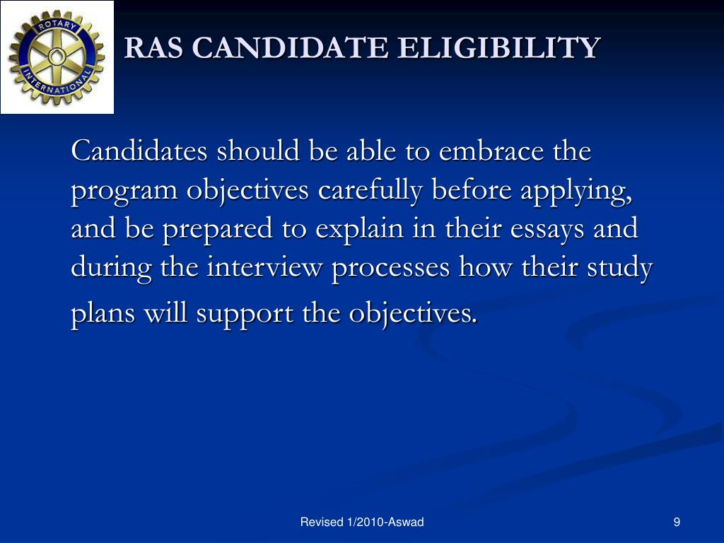 RAS CANDIDATE ELIGIBILITY