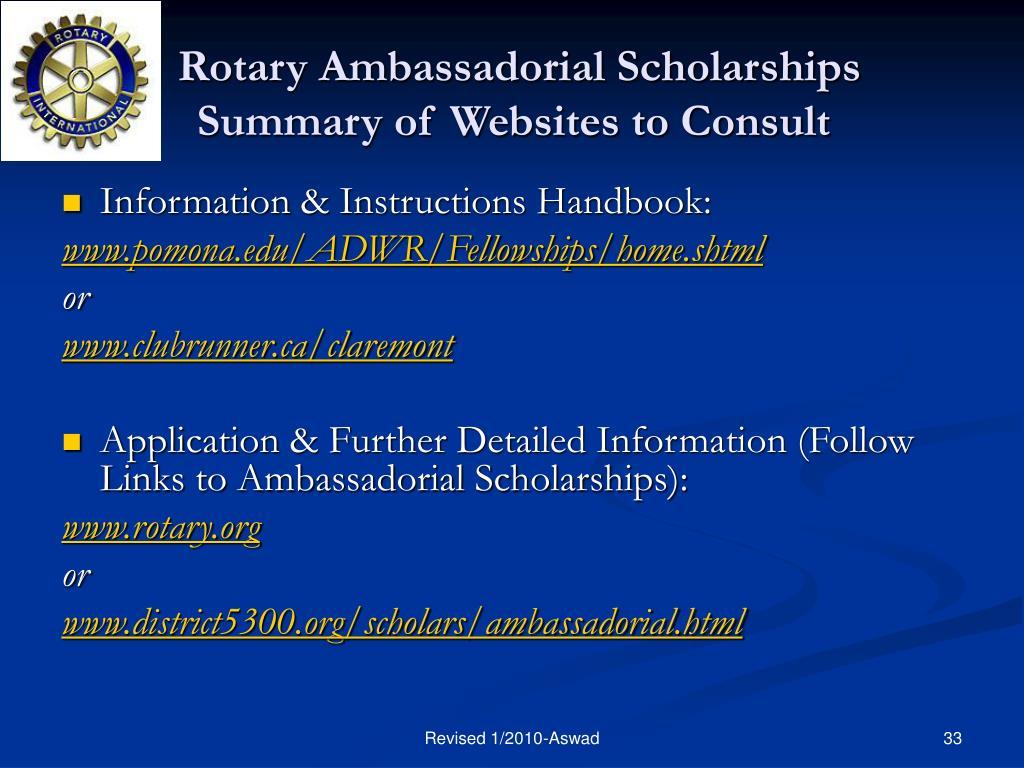 Rotary Ambassadorial Scholarships        Summary of Websites to Consult