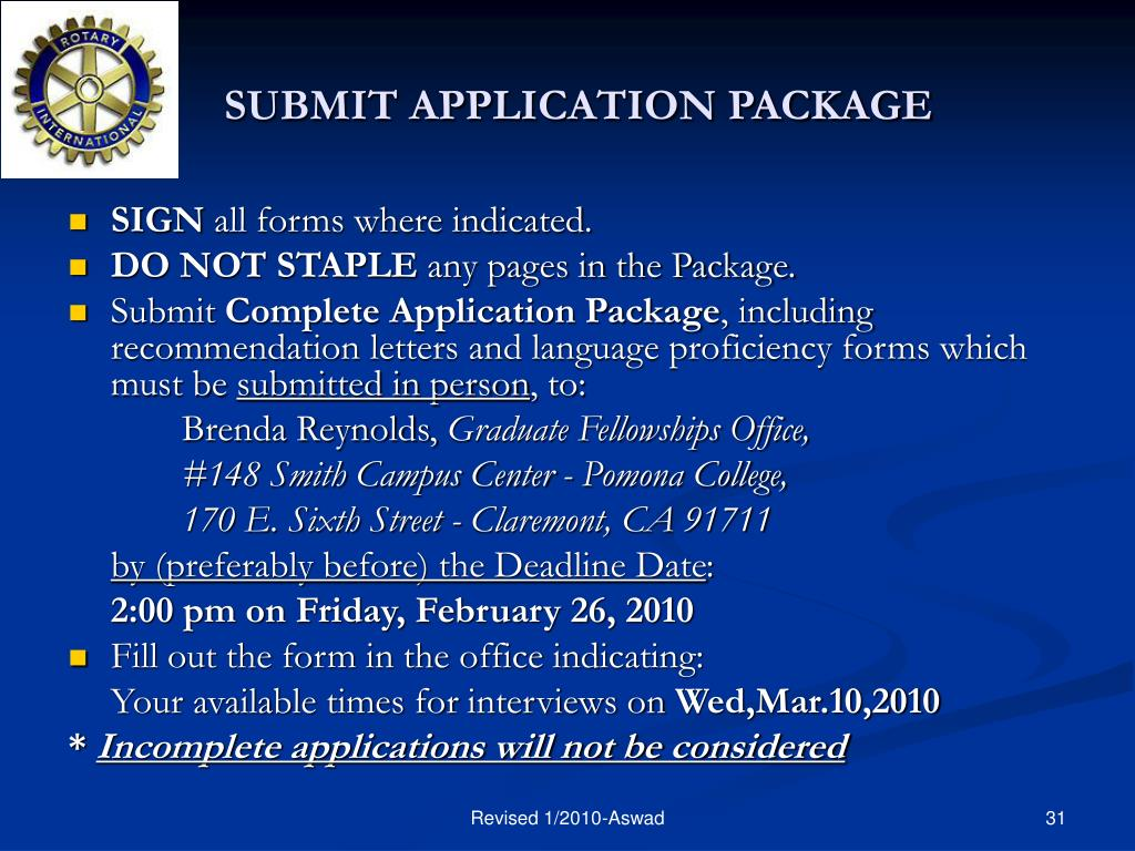 SUBMIT APPLICATION PACKAGE