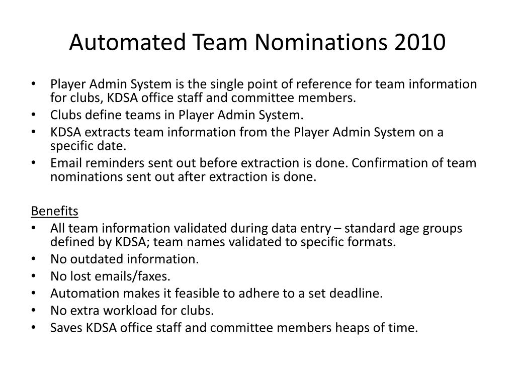 Automated Team Nominations 2010