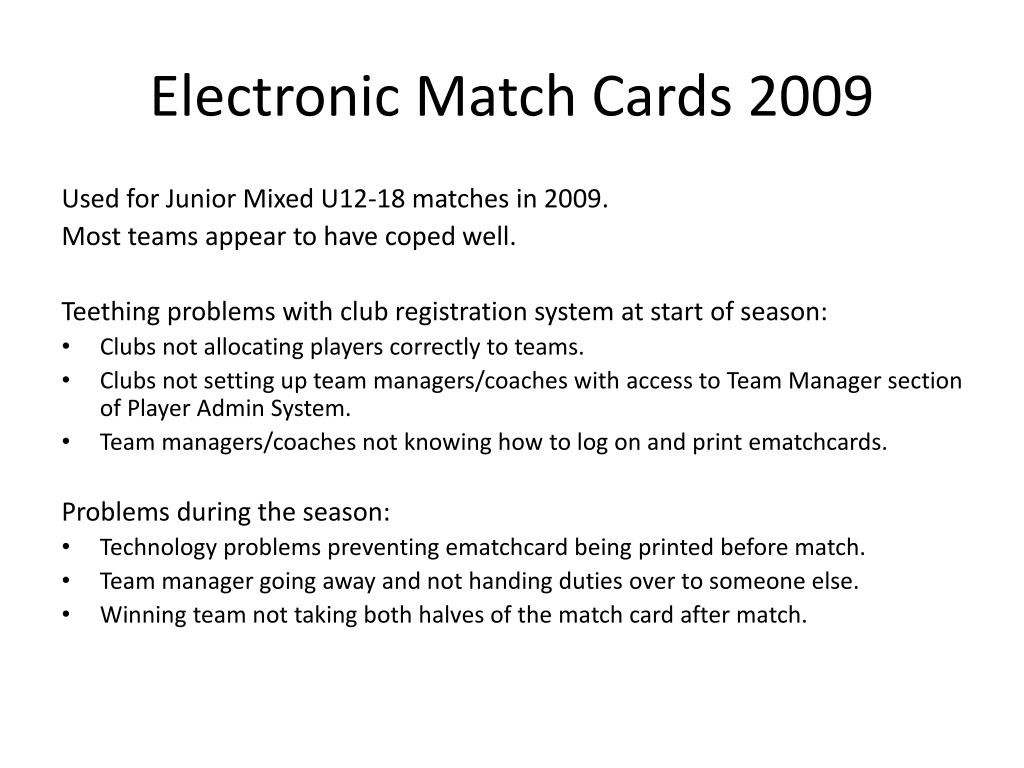 Electronic Match Cards 2009