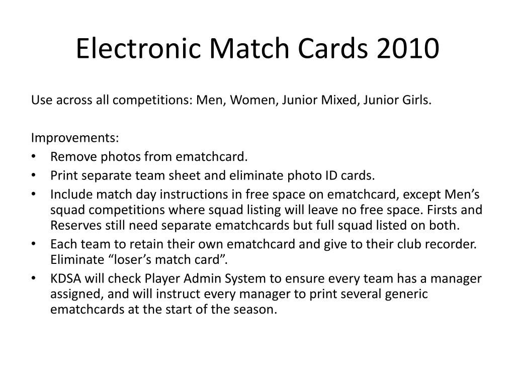 Electronic Match Cards 2010