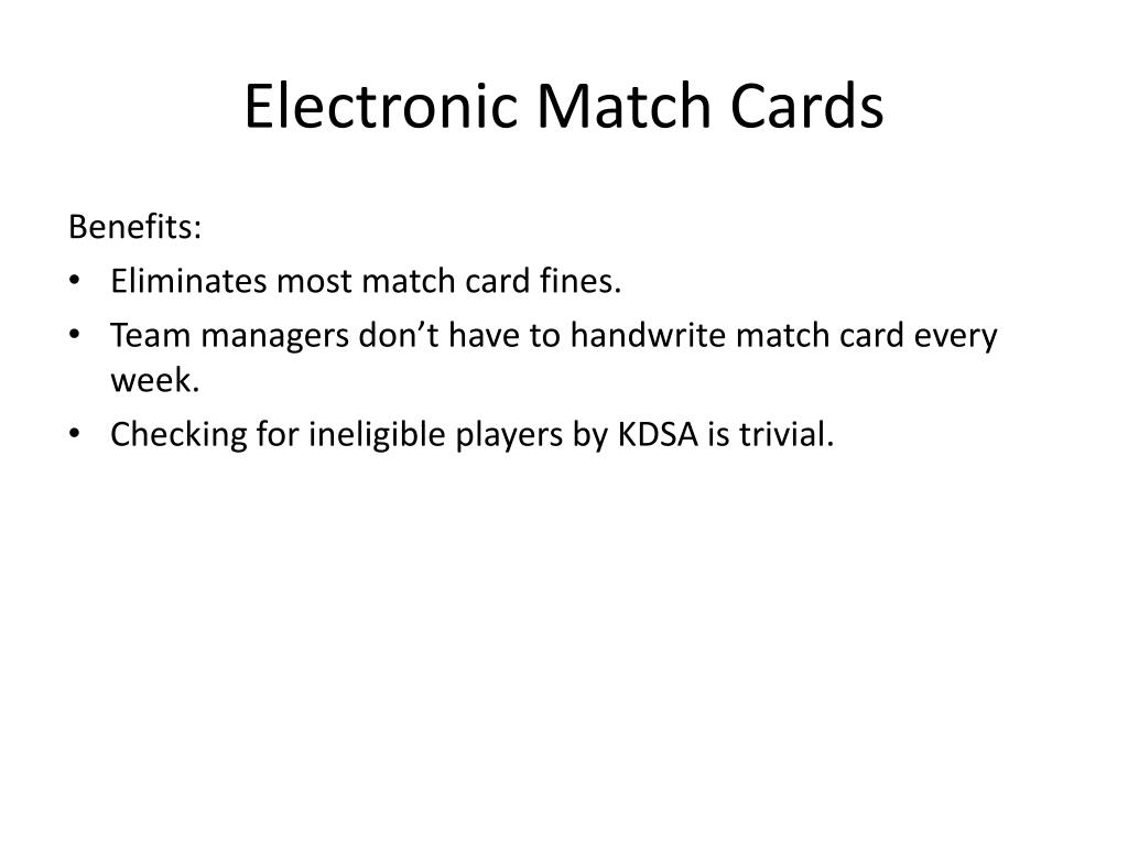 Electronic Match Cards