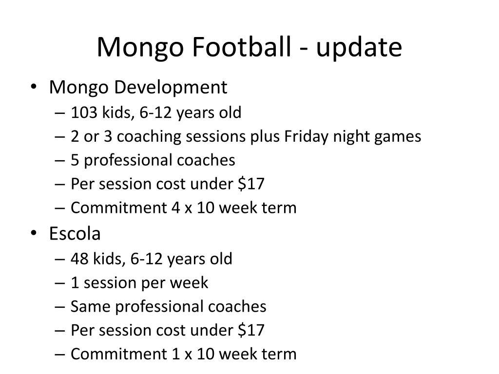 Mongo Football - update