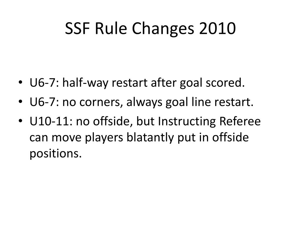 SSF Rule Changes 2010