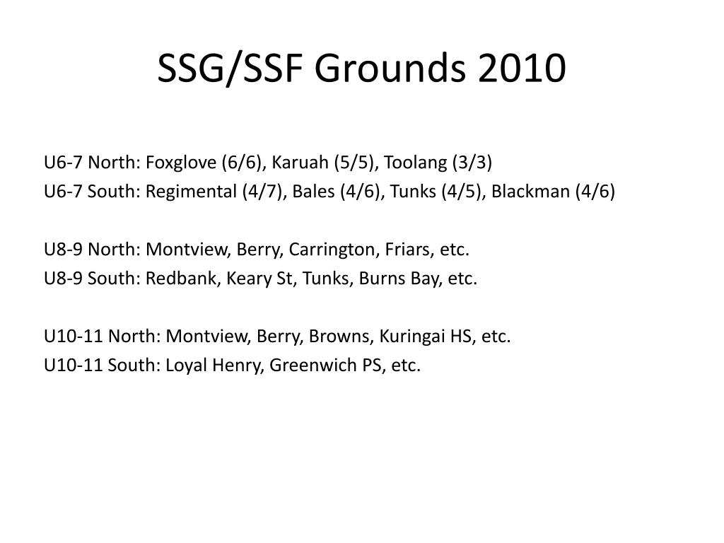 SSG/SSF Grounds 2010