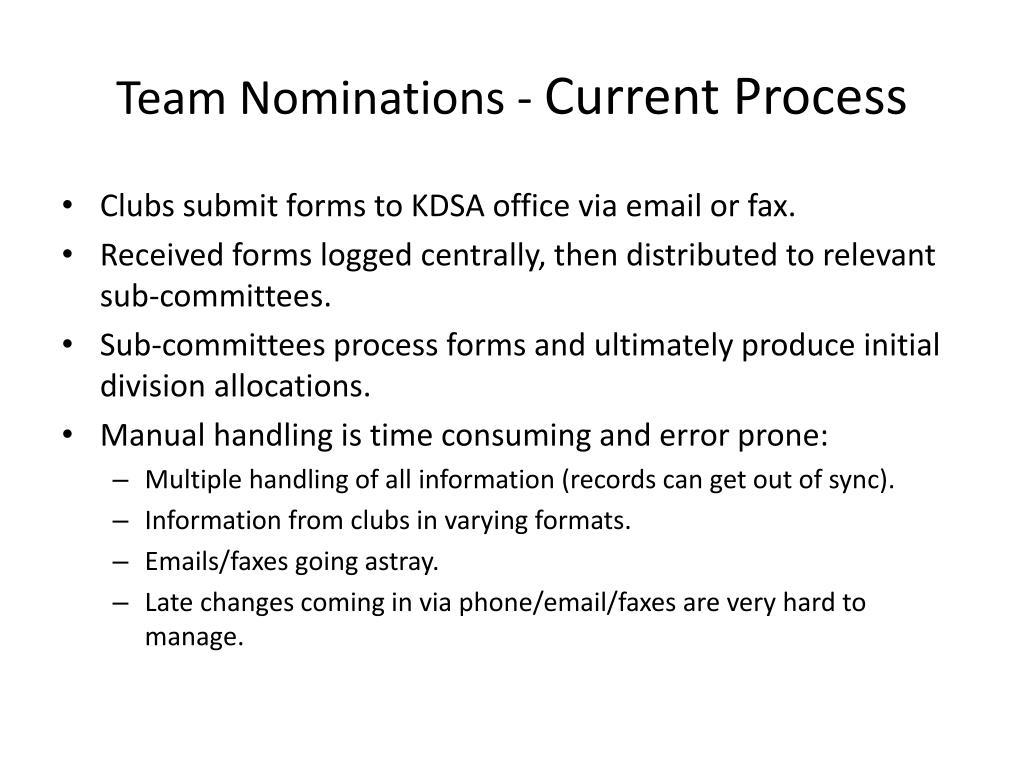 Team Nominations -