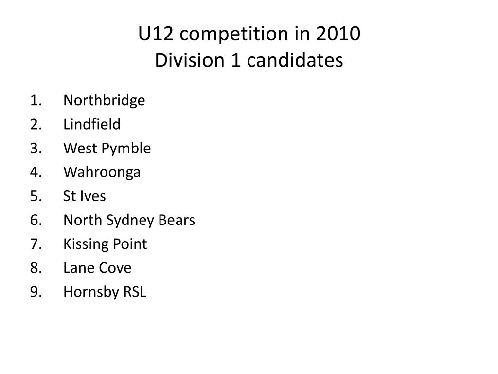 U12 competition in 2010