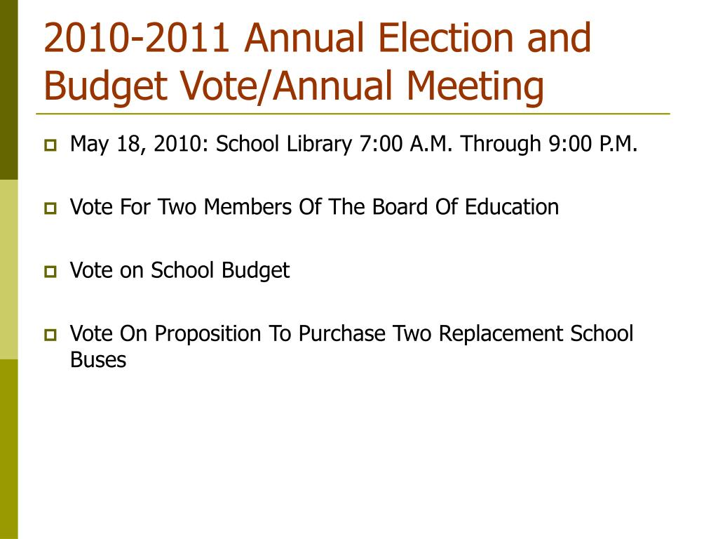 2010-2011 Annual Election and Budget Vote/Annual Meeting