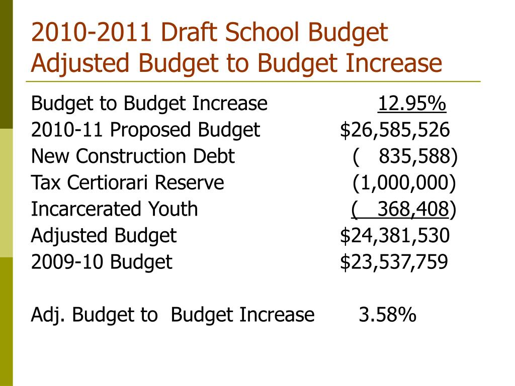 2010-2011 Draft School Budget Adjusted Budget to Budget Increase
