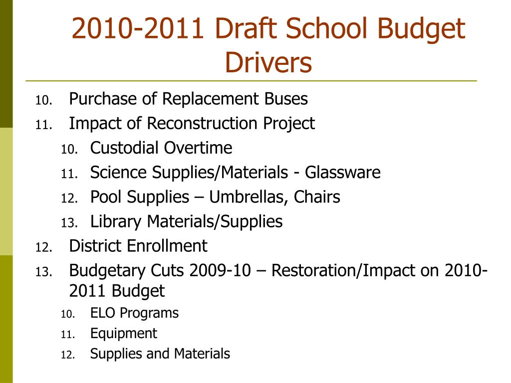 2010-2011 Draft School Budget Drivers