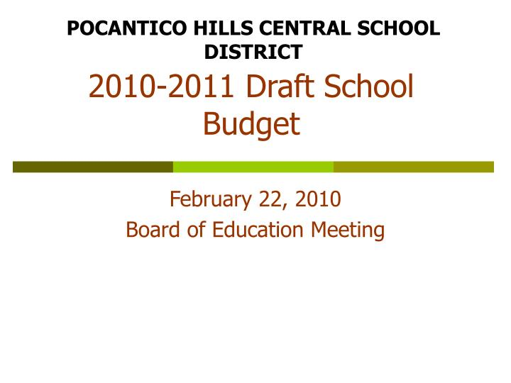 2010 2011 draft school budget