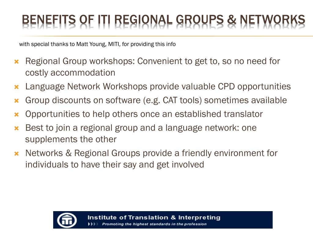 Regional Group workshops: Convenient to get to, so no need for costly accommodation