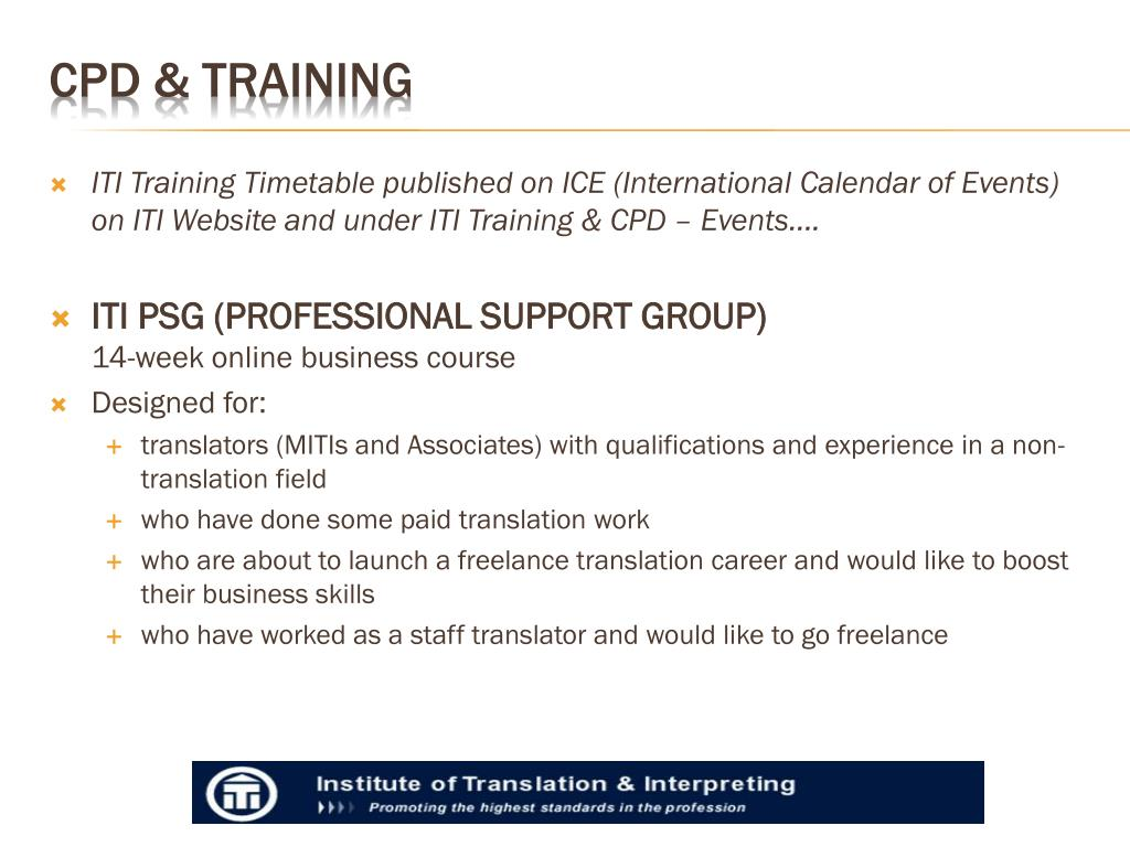 ITI Training Timetable published on ICE (International Calendar of Events)  on ITI Website and under ITI Training & CPD – Events….
