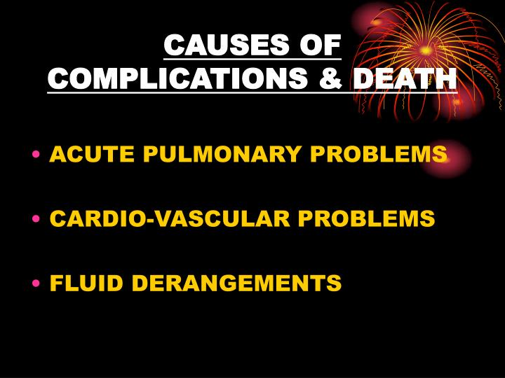 CAUSES OF COMPLICATIONS & DEATH