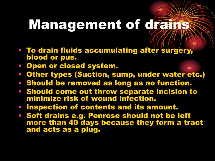 Management of drains