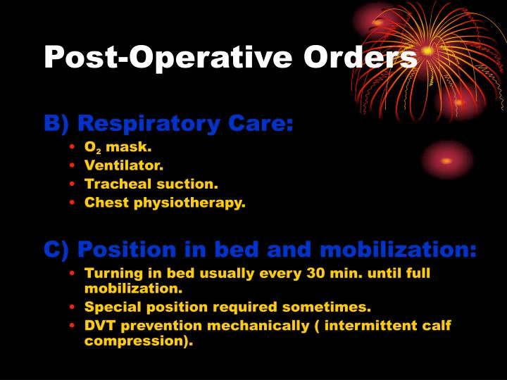 Post-Operative Orders