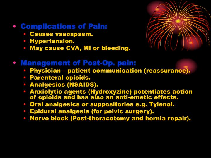 Complications of Pain: