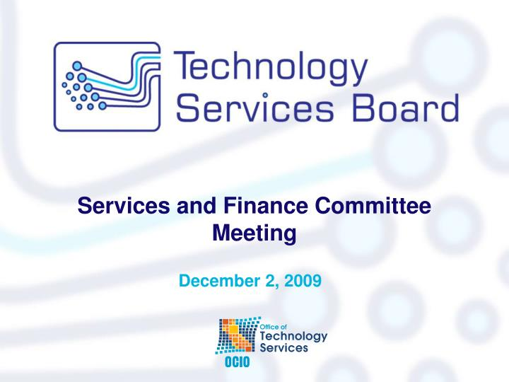 Services and finance committee meeting