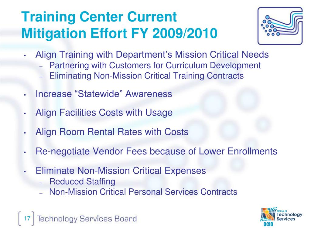 Training Center Current Mitigation Effort FY 2009/2010