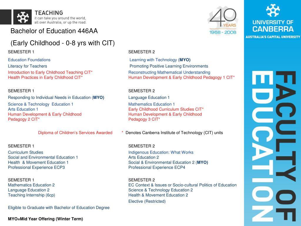Bachelor of Education 446AA