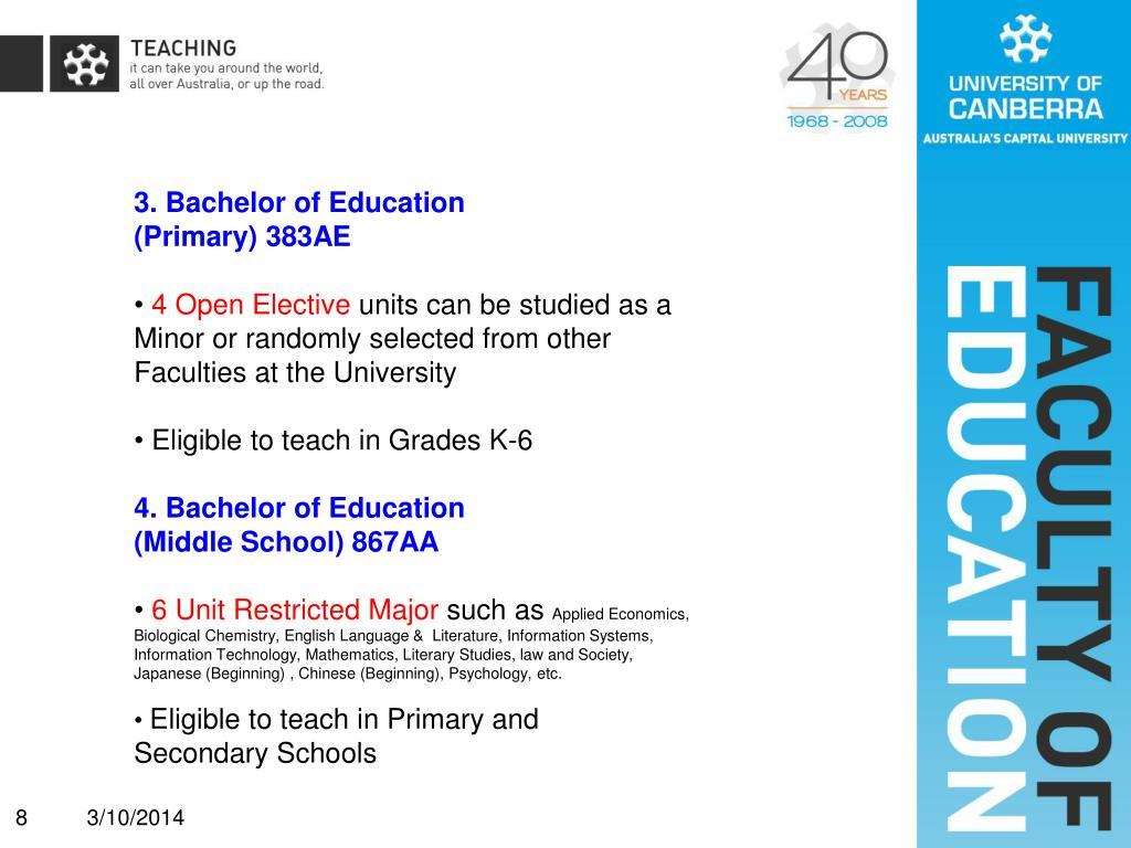 3. Bachelor of Education