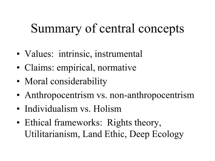 Summary of central concepts