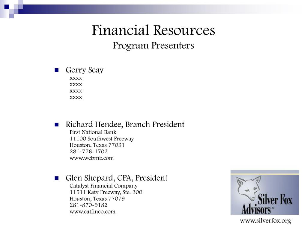 Financial Resources