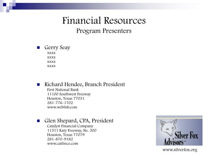 Financial resources program presenters