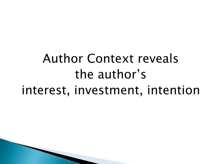 Author Context reveals