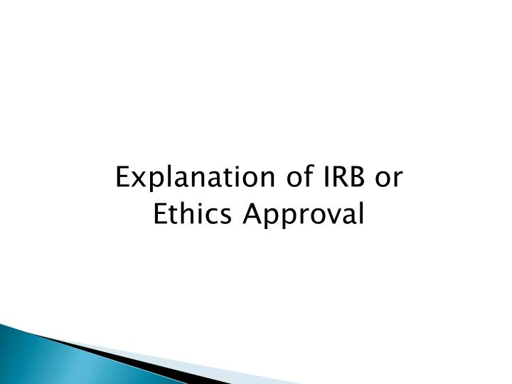 Explanation of IRB or