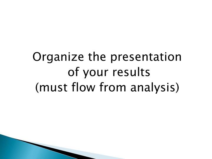 Organize the presentation