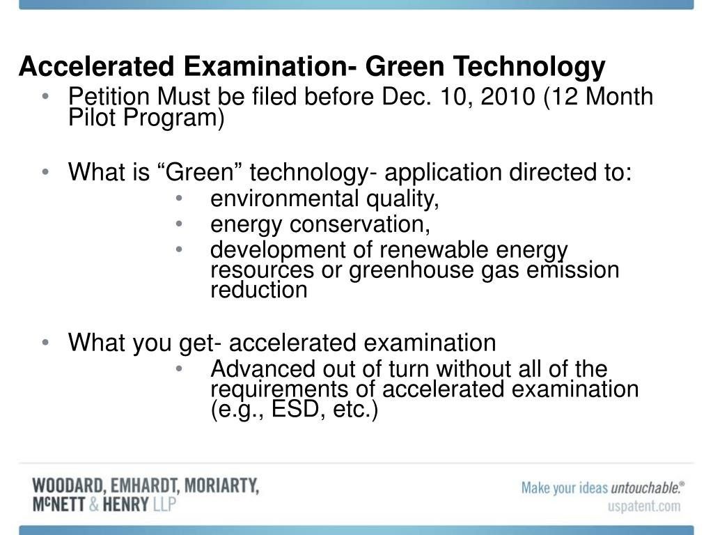 Accelerated Examination- Green Technology