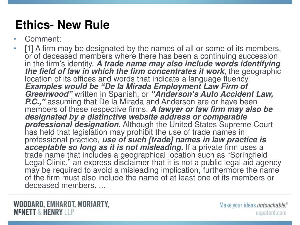 Ethics- New Rule